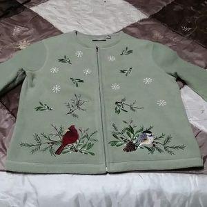 Green Fleece Sweater Jacket